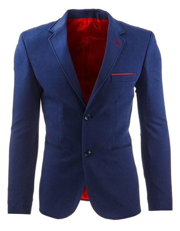 937a0691f9 Elegáns kék férfi zakó piros elemekkel - Dressing.hu