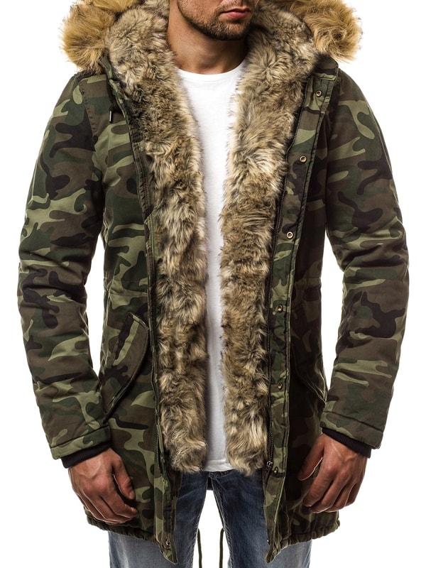 Stílusos terepmintás szőrmés dzseki OZONEE N5579 (47 db